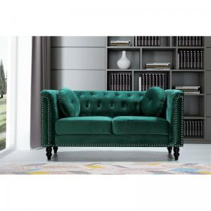 Whetzel Chesterfield 64″ Rolled Arms Loveseat, Green