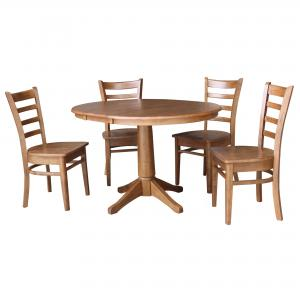 36″ Round Extension Dining Table with 4 Chairs