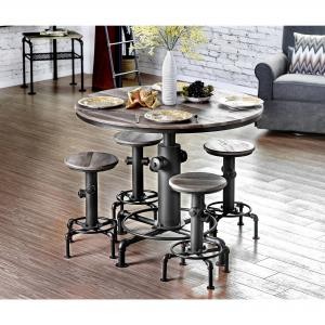Furniture of America Folley Industrial 5-Piece Counter Height Dining Set, Antique Black