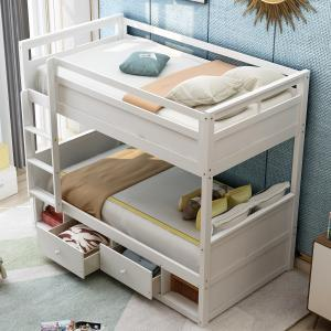 EUROCO Twin Over Twin Bunk Bed Wood Bunk with Storage Drawers, Compartments, Ladder, Guardrails