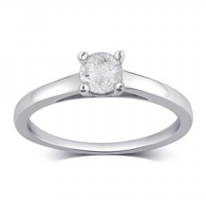 1 1/4 Carat T.W Diamond 10K White Gold Solitaire Engagement Ring.