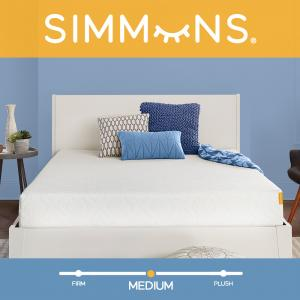 Simmons 8″ Memory Foam Mattress, Queen Size Mattress, Medium Firm Feel, CertiPur-US Certified, Cooling Gel, Motion Isolating Design, Bed In A Box