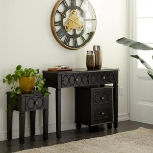 DecMode 32″, 23″, 23″ Black Wood Traditional Console Table, Set of 3