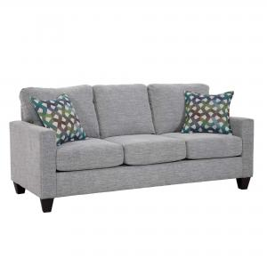 Nathan Sofa, track arm style, designed in a smaller scale, neutral grey with accent pillows