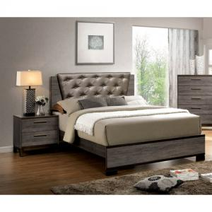 Furniture of America Adelina Bedroom Set, 1 California King Bed, 1 Nightstand, Two-Tone Antique Gray