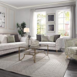 Wilder Sofa with Pillows in Beige Fabric