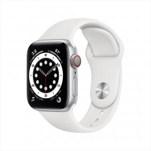 Apple Watch Series 6 GPS + Cellular, 40mm Silver Aluminum Case with White Sport Band – Regular