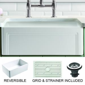 Olde London Farmhouse Fireclay 30″ Kitchen Sink with Grid and Strainer in White