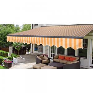 ALEKO 16'x10′ Sunshade Half Cassette Motorized Retractable Patio Deck Awning, Multi Striped Yellow Color