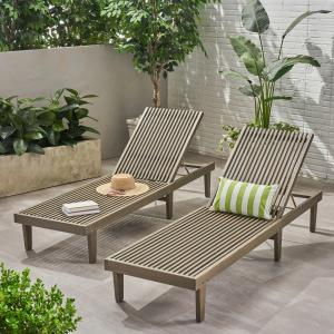 Maddison Outdoor Wooden Chaise Lounge, Set of 2, Gray Finish
