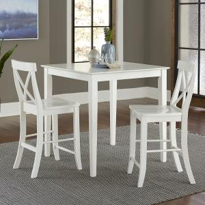 36″ Square Counter Height Dining Table with 2 X-Back Stools – White – 3-Piece Set