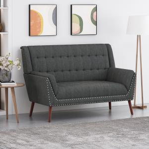Noble House Aaron Mid-Century Modern High Back Fabric Settee with Nailhead Trim, Charcoal, Walnut