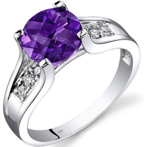 1.75 ct Round Purple Amethyst Solitaire Ring with Diamond in 14K White Gold