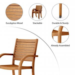 Amazonia Carolina 4-piece Stackable armchairs   Eucalyptus Wood   Ideal for Outdoors and Indoors