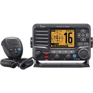12″ Jet Black M506 VHF Fixed Mount with Front Mic Radio, AIS, and NMEA 0183/2000