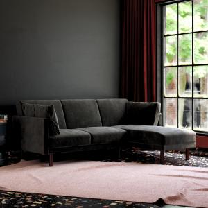 DHP Clair Coil Sectional Futon, Convertible Sofa Bed & Couch, Black