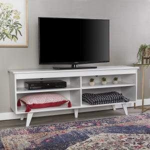 Manor Park Mid Century Modern TV Stand Console for TVs up to 65″, White