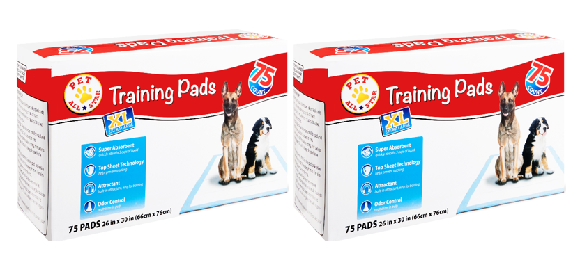 (Value 2 Pack) Pet All Star XL Training Pads, 26 in x 30 in, 75 Count