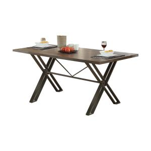 Acme Jodoc Rectangle Dining Table in Walnut and Gunmetal