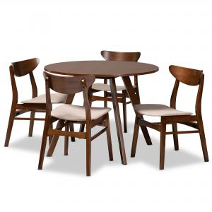 Baxton Studio Philip Mid-Century Modern Transitional Light Beige Fabric Upholstered and Walnut Brown Finished Wood 5-Piece Dining Set