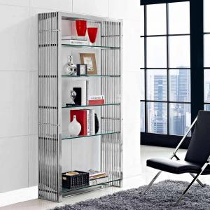Modway Gridiron Stainless Steel Bookshelf with 5 Shelves in Silver