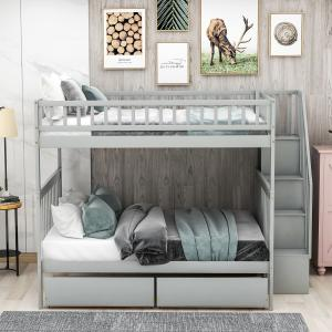EUROCO Full Over Full Bunk Bed With Storage Shelves and 2 Under Storage Drawers