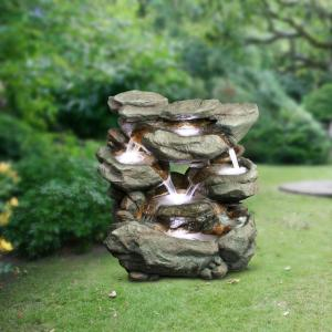 Alpine Corporation 6-Tier Rainforest Rock Water Fountain with LED Lights