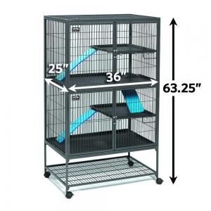 Midwest Deluxe Ferret Nation Double Unit Ferret Cage (Model 182) Includes 2 leak-Proof Pans, 2 Shelves, 3 Ramps w/ Ramp Covers, Measures 36″L x 25″W x 62.5″H Inches