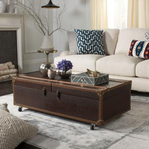 Safavieh Zoe Modern Animal Print Storage Coffee Table with Wine Rack