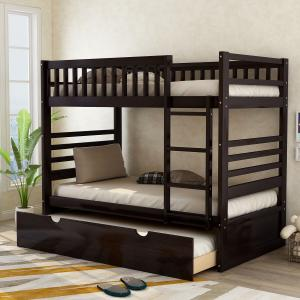 Merax Wood Bunk Bed, Twin Over Twin, with Trundle, Espresso