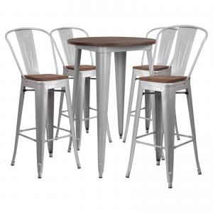 Flash Furniture 30″ Round Black Metal Bar Table Set with Wood Top and 4 Stools