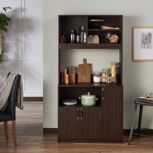 Furniture of America Perry Contemporary Multi-Storage Buffet Hutch, Wenge
