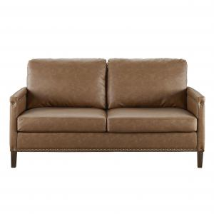 Apartment Upholstered Sofa with Nail Head Trim, Brown Faux Leather