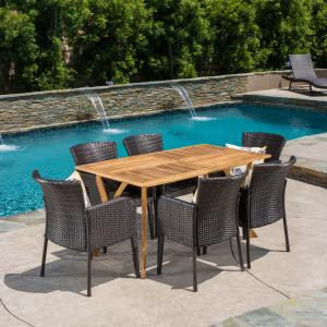 Kelly 7 Piece Outdoor Wicker and Acacia Wood Dining Set, Teak Finish