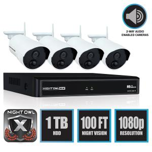 Night Owl 4 Channel 1080p Wireless Smart Security Hub with 4 x 1080p Infrared IP Cameras and 1 TB HDD