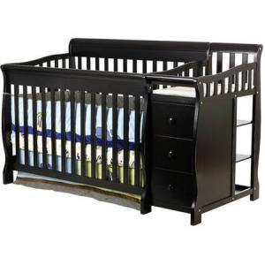 Dream On Me Brody 5-in-1 Convertible Crib with Changer, Black