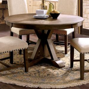 Furniture of America Stanley Pedestal Round Dining Table, Light Oak
