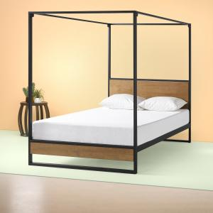 ZINUS Suzanne 72″ Metal and Wood Canopy Platform Bed Frame, Queen