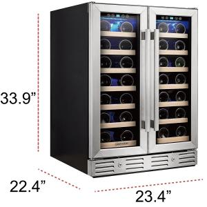 Kalamera 24′ Wine refrigerator 40 Bottle Built-in or Freestanding with Stainless Steel and Glass French-Door Style