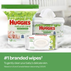Huggies Natural Care Sensitive Baby Wipes, Unscented, 1 Flip-Top Pack (56 Wipes Total)