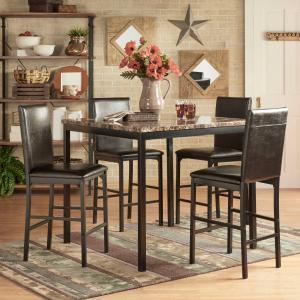 Weston Home Declan 5-Piece Metal Counter Height Dining Set