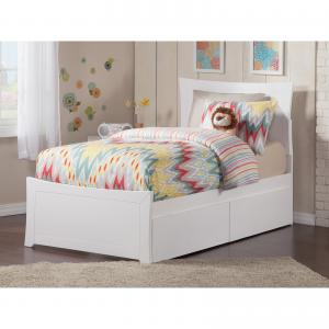 Metro Twin XL Platform Bed with Matching Foot Board with 2 Urban Bed Drawers, Multiple Colors