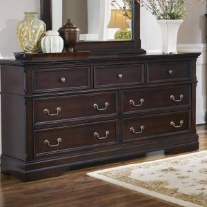 Simple Relax 7-Drawer Wood Dresser in Cappuccino Finish