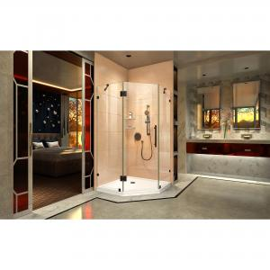 DreamLine Prism Lux 40 3/8 in. x 72 in. Fully Frameless Neo-Angle Hinged Shower Enclosure in Satin Black