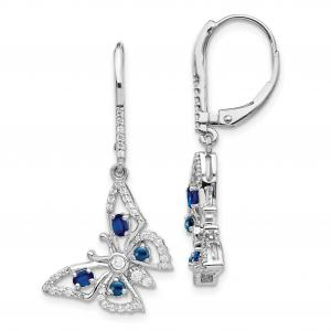 Primal Gold 14 Karat White Gold Diamond and Sapphire Butterfly Leverback Earrings