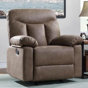 Better Homes & Gardens Rocker Recliner, Brown Faux Leather