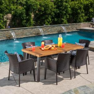 Faulds 7 Piece Outdoor Dining Set with Wood Table and Wicker Chairs, Natural Stained, Multibrown