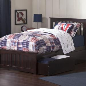 Mission Platform Bed with Matching Foot Board with 2 Urban Bed Drawers in, Multiple Colors and Sizes