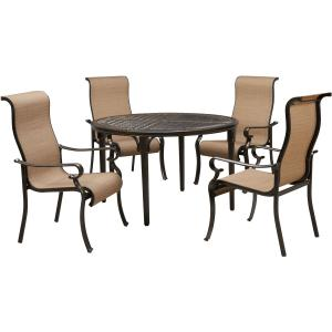 Hanover Brigantine 5-Piece Outdoor Dining Set with 4 Contoured-Sling Chairs and a 50-In. Round Cast-Top Table