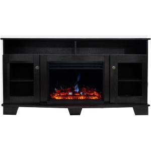 Cambridge Savona Electric Fireplace Heater with 59-In. Black Coffee TV Stand, Enhanced Log Display, Multi-Color Flames, and Remote